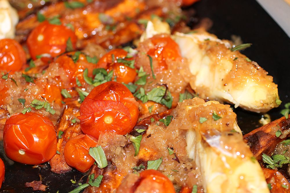 Fisch auf Süßkartoffeln